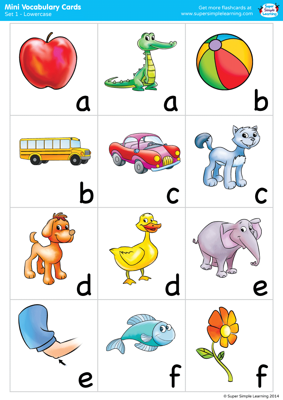 Alphabet Vocabulary Mini Cards Set 1 Lowercase Super