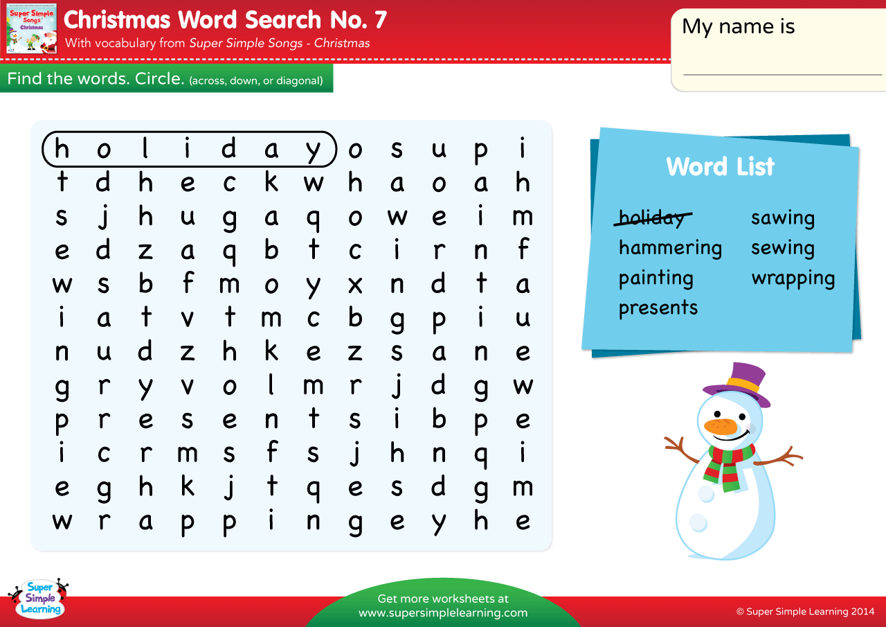 Christmas Word Search 7