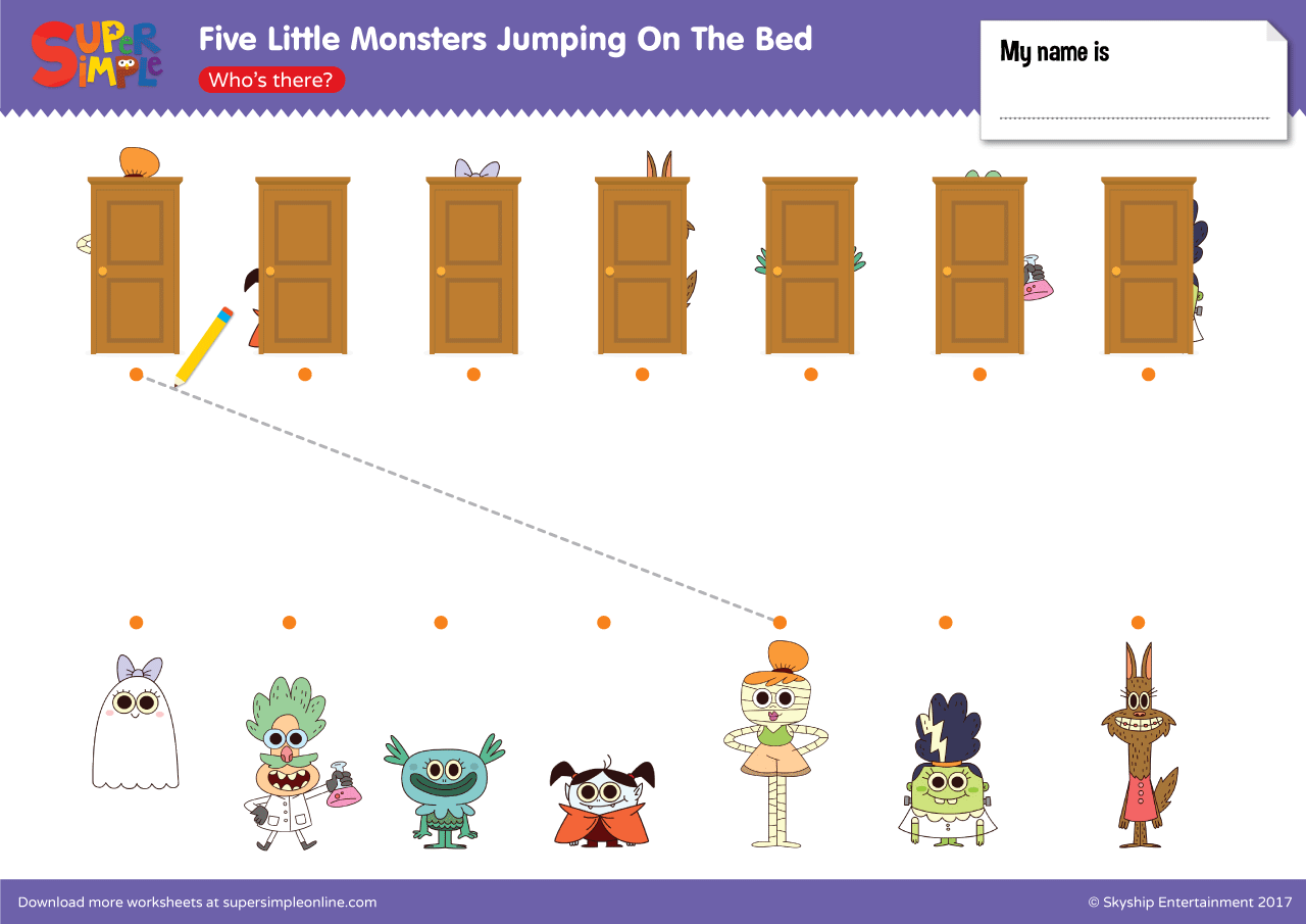 Five Little Monsters Jumping On The Bed Who S There
