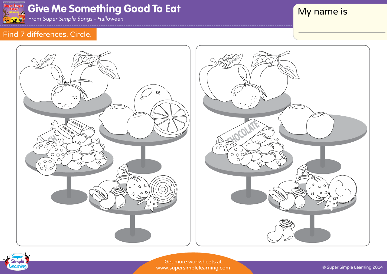 Give Me Something Good To Eat Worksheet Find The Differences
