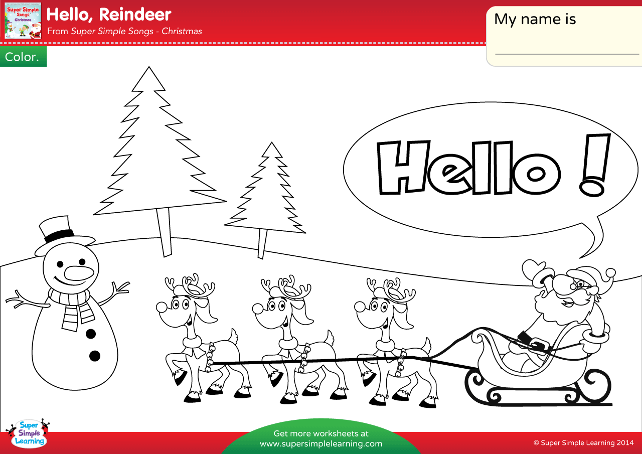 Hello Reindeer Worksheet Color