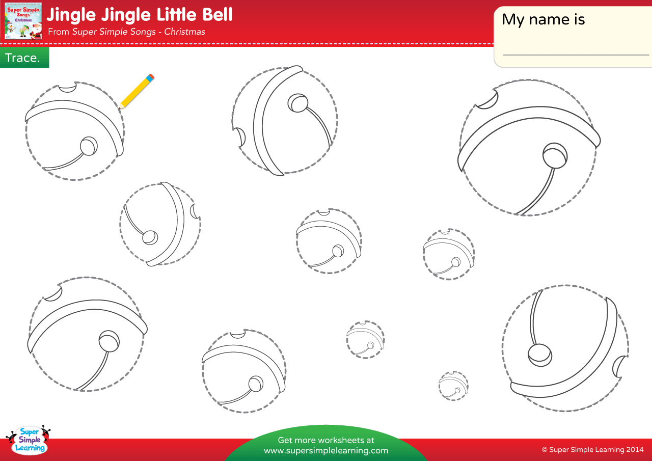 Jingle Jingle Little Bell Worksheet Trace The Bells