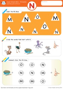 Letter Recognition Amp Phonics Worksheet N Uppercase
