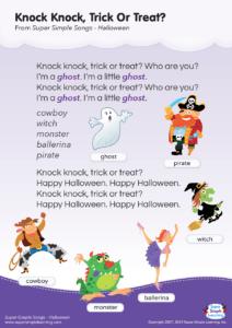 Knock Knock Trick Or Treat Lyrics Poster Super Simple