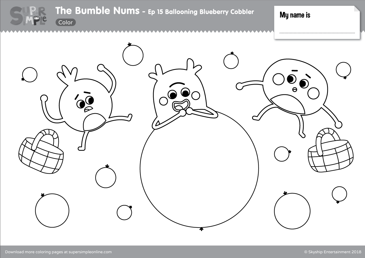 The Bumble Nums Color Episode 15 Ballooning Blueberry Cobbler
