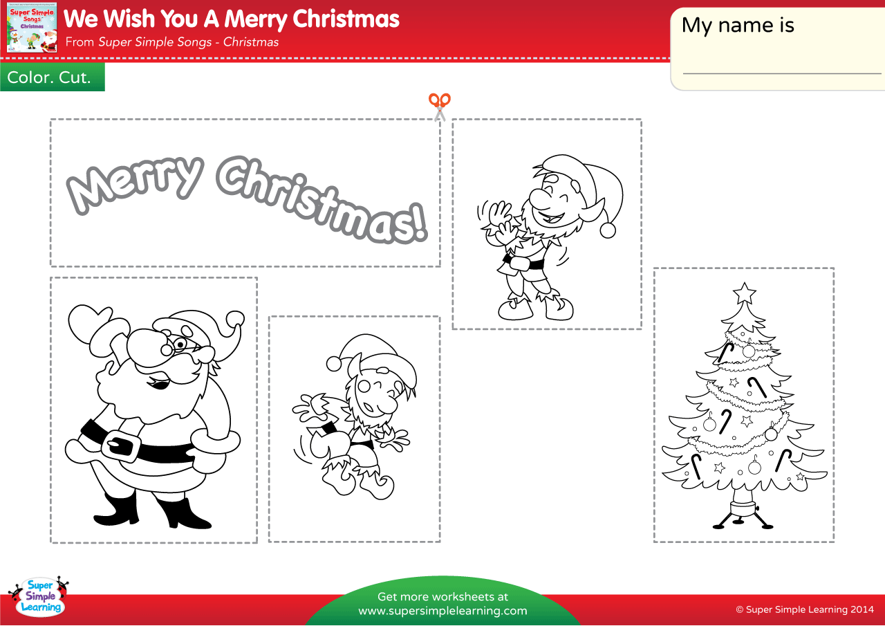 We Wish You A Merry Christmas Worksheet Color Cut Amp Paste