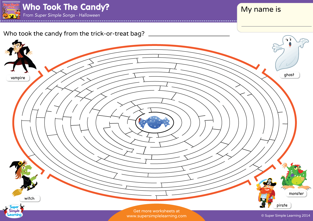 Who Took The Candy Worksheet Maze