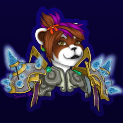 So after I drew the image of Spazz Wesson, I decided that I wanted to do one for myself too~ So I drew my WoW toon, Xuralyn~ She's my main, and she's a super cute Pandaren Frost Mage! I truthfully just wanted to draw her with her new spaulders ;O;
