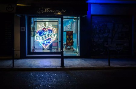 Tattoo parlor with neon sign