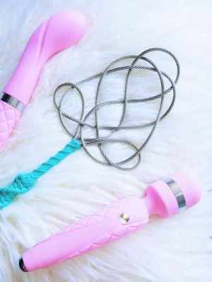 [Image: Pillow Talk Sassy next to Pillow Talk Cheeky and Kink Nerd Toys rug beater paddle]