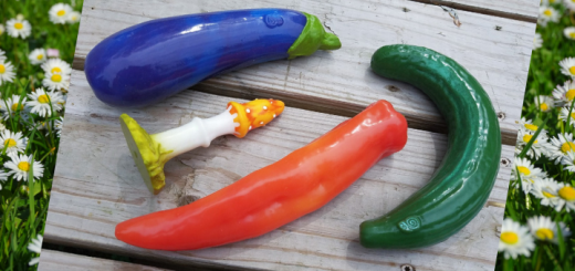 Self Delve veggie dildo reviews: eggplant, curved cucumber, fly agaric mushroom, and pepper 1