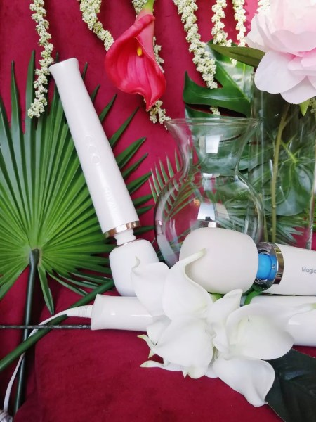 [Image: Le Wand Rechargeable next to vase, Magic Wand Plus, and glass vase among plants and tropical flowers]