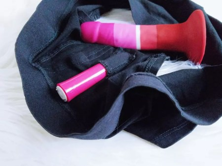 [Image: We-Vibe Tango in Blush Temptasia underwear harness, with Blush Avant Pride P3 striped silicone dildo resting]