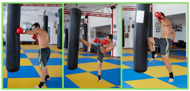 Kickboxing for weight loss. HIIT circuit. Core stability exercises. Kickboxing training.