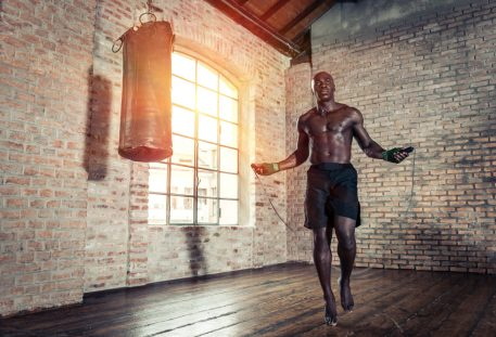 Kickboxing. Martial Arts Training. Conditioning. HIIT cardio. Skipping for exercise