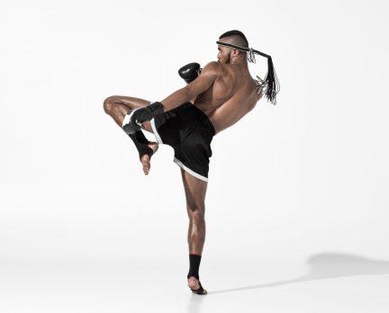 Kickboxing. Martial Arts Training. Knee strikes. Shin kicks.