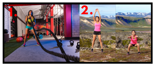 Functional fitness. Rope battle exercises. Squat Jumps. Leg exercises for women. Core workout for women.