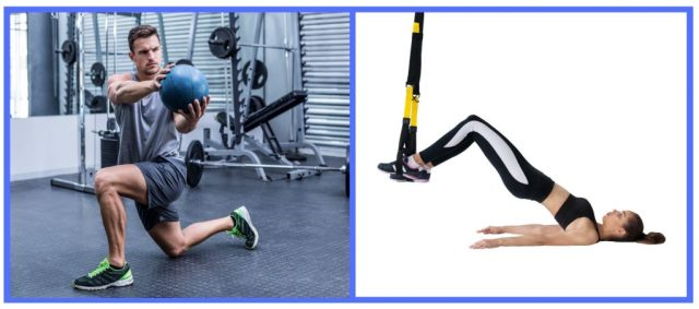 Whole Body workouts. Medicine Ball core exercises. Hip Bridge. TRX exercises core.