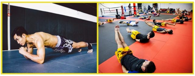 Kickboxing. Thailand. Martial Arts Training. Conditioning. Core training. Washboard abs
