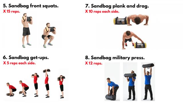 Sandbag Workout. Functional Training.