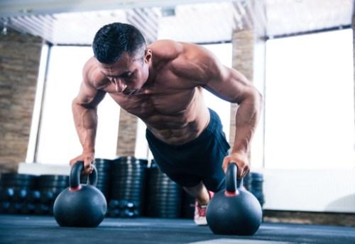 Muscular endurance training. Kettlebell push ups.