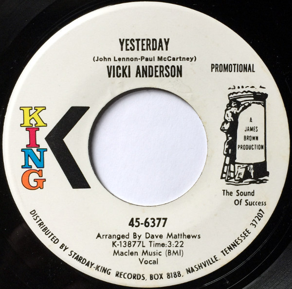 1971 King Promo 45: Vicki Anderson – Yesterday