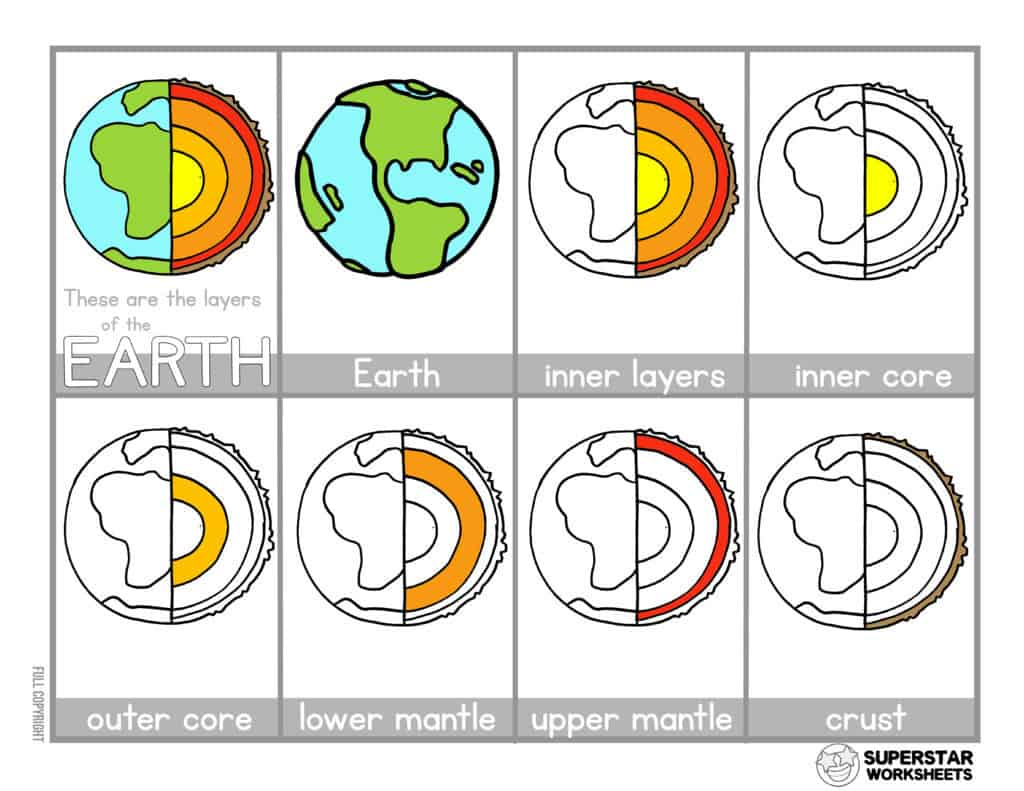 Layers Of The Earth Printable Worksheets