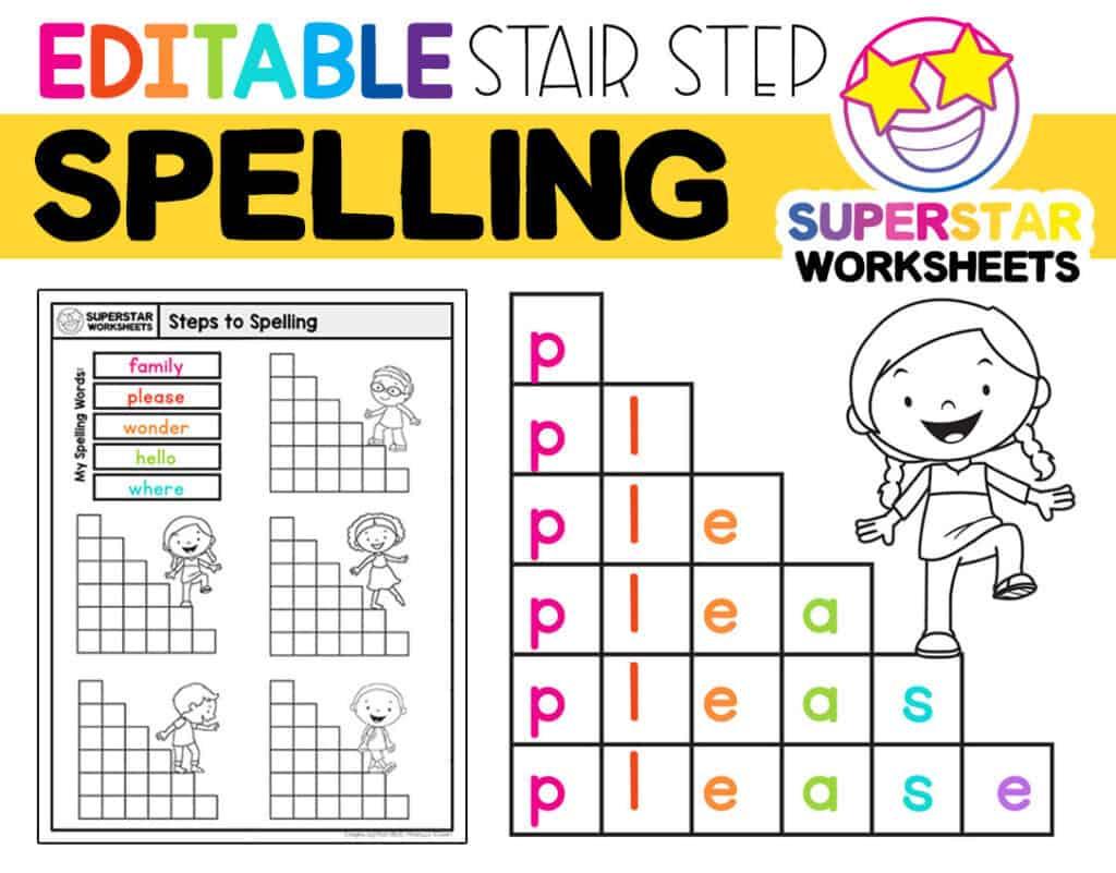 Stair Step Spelling Worksheets