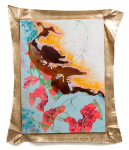 "Sweet pea, mixed media with imitation gold leaf, 69"" x 50.5"", 2012"