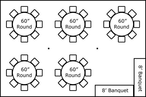 20′ X 30′ W/ Round Tables & Buffet
