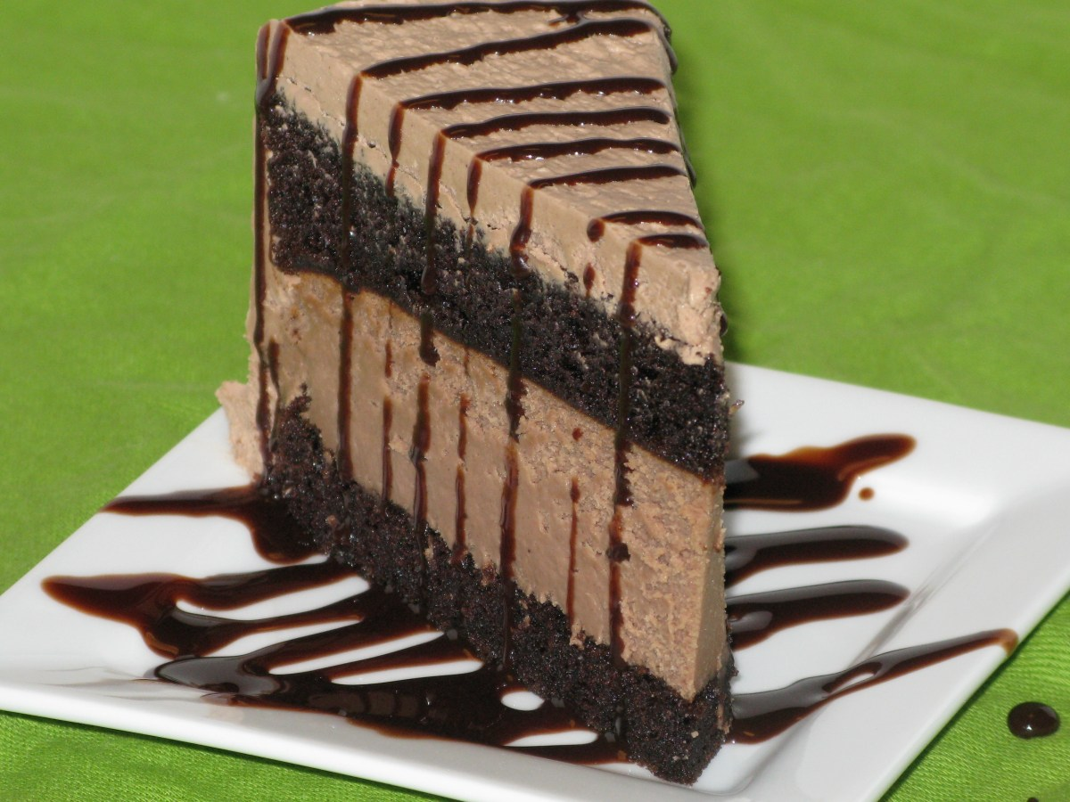 Layered Chocolate Cake with Chocolate Cheesecake