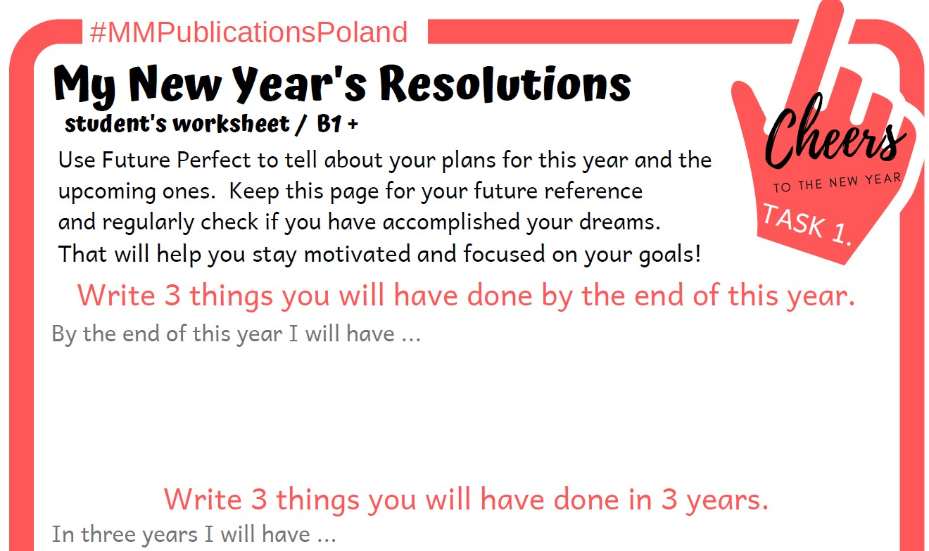 New Year's Resolutions  + S.M.A.R.T. goals + Future Perfect