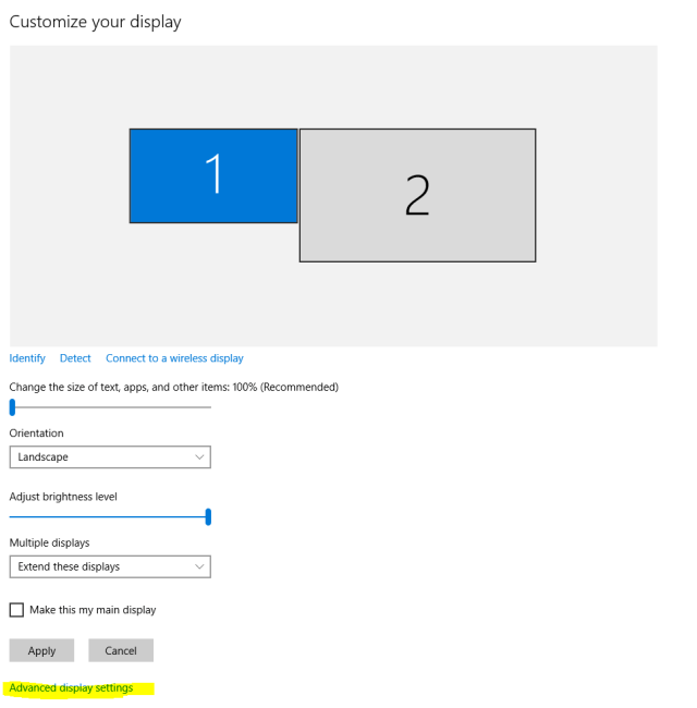 Change screen resolution Windows 10