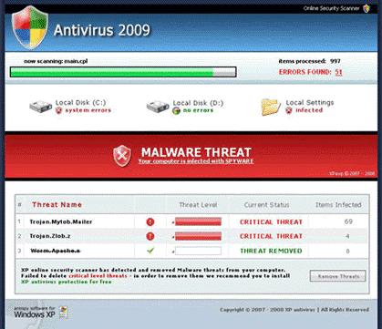 Computer Virus pop up
