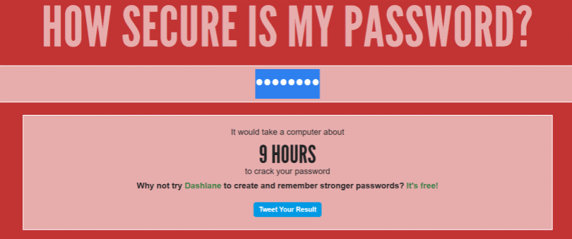 Hows Secure is my password