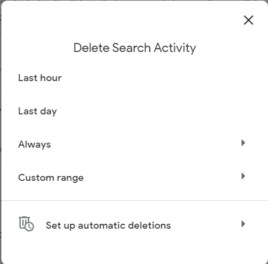 clear search history google