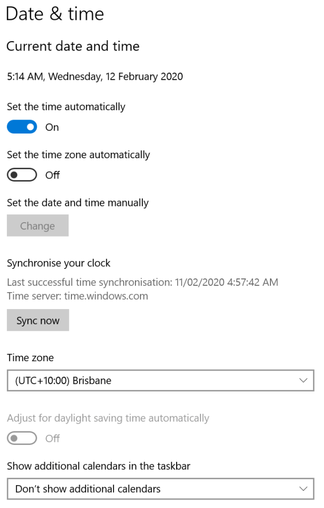 adjust date and time