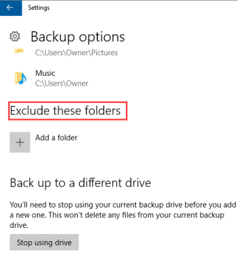 exclude folder from backup