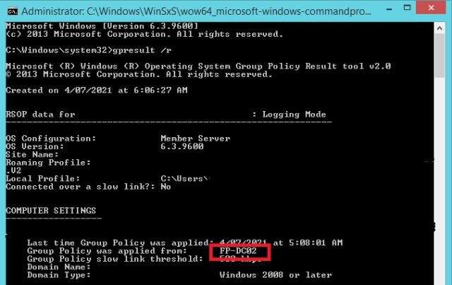 GPResult computer settings