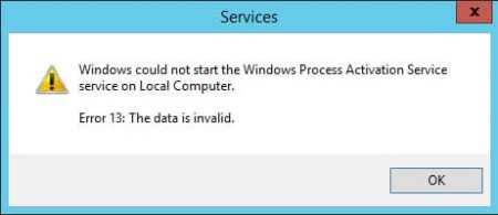 Windows could not start the Windows Process Activation Service service on Local Computer Error 13 The data is invalid