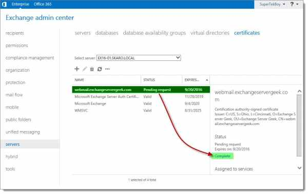 Complete a Certificate Request in Exchange 2016 B