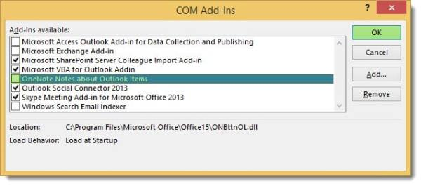 Outlook 2013 Add-Ins Disable
