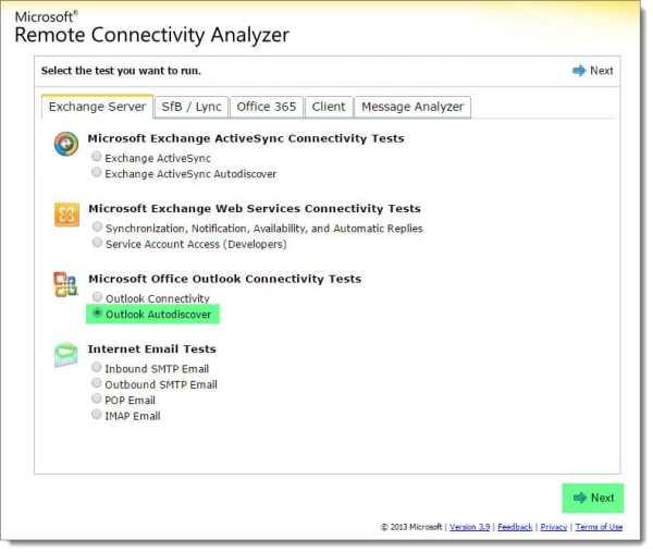 Exchange Remote Connectivity Analyzer Autodiscover SRV test
