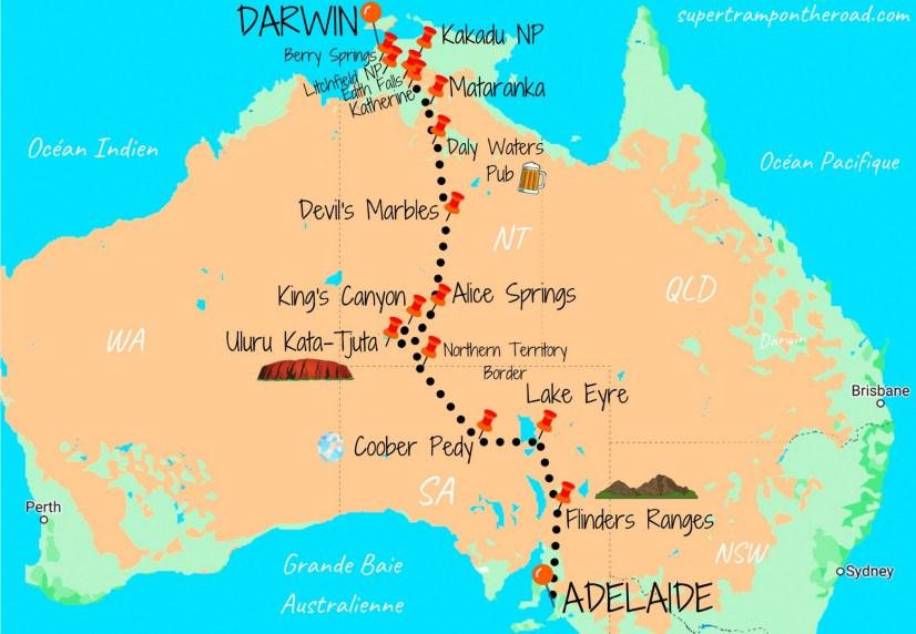 carte itinéraire road trip adelaide-darwin