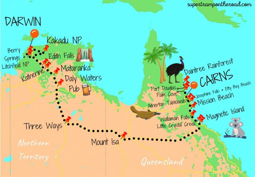 carte itinéraire darwin-cairns