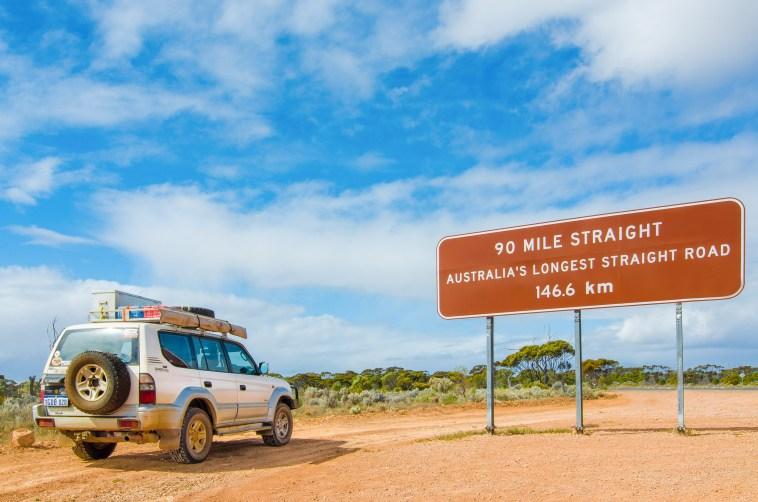 plus longue route droite d'australie nullarbor