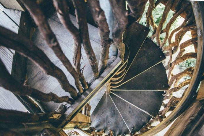 Escaleras a una de las cabañas en los árboles