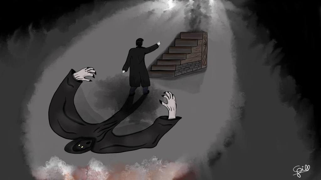 Peur dans l'escalier par Cyrille Gill