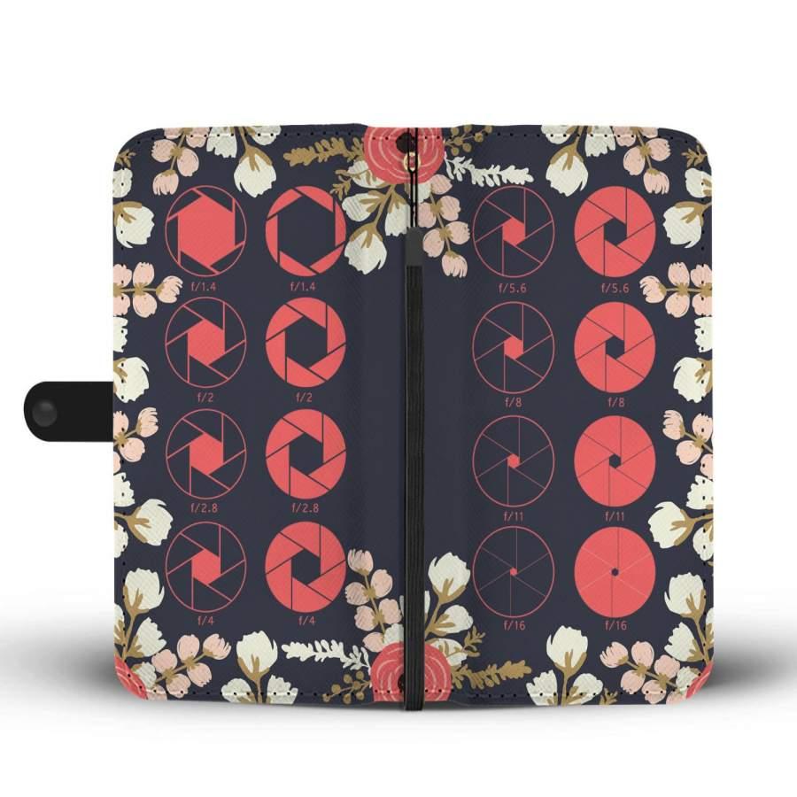 Floral Shutter Diagram Wallet Phone Case