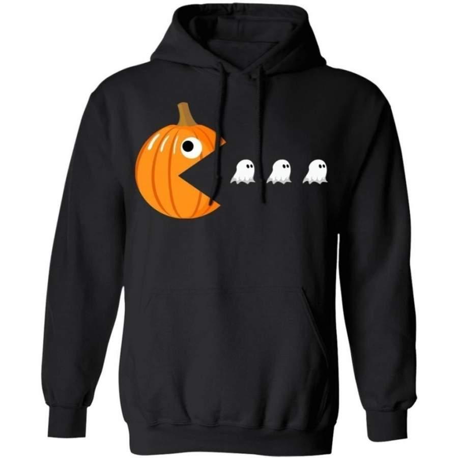 Pacman Pumpkin Eating Ghost Funny Halloween Hoodie Funny